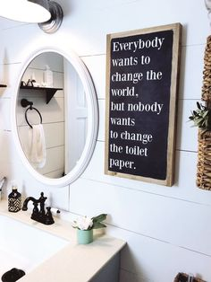 Everybody wants to change the world   2'x1' Wood Sign Handmade Home Decor, Cheap Home Decor, Diy Home Decor, Funny Home Decor, Unique Home Decor, Modern Decor, Diy Bathroom, Bathroom Signs, Bathroom Ideas