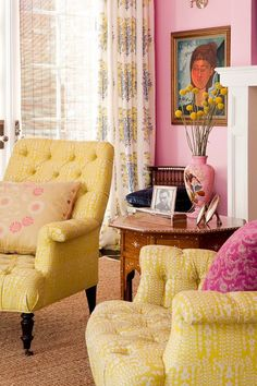 Someday I will have a client who wants Pinks & yellows in their space. I love the happy combo.