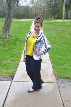 Whitney à la mode: Navy Striped Blazer + Chartreuse