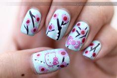 omgnoodles HELLO KITTY #nail #nails #nailart