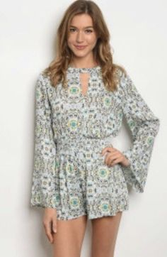 6c96262de4a Womens Ivory Teal Long Sleeve Romper. Size Small. People Are Free Boutique.