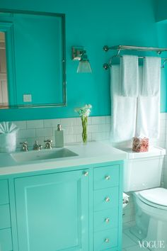 I love Tiffany blue. My friend Aliza had a Tiffany blue bathroom in her apartment, and I thought it always felt great. It is also gender neutral, so it is the color of both Edie and Oscar's bathrooms. I love Tiffany blue.