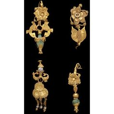 Earring Place of origin: Taxila, India (possibly, made) Date: century (made) Artist/Maker: Unknown (production) Materials and Techniques: Sheet gold, with applied wire and granular decoration, and turquoise Museum number: Ethnic Jewelry, Jewelry Art, Gold Jewelry, Jewelry Design, Medieval Jewelry, Ancient Jewelry, Antique Jewelry, Vintage Jewelry, Roman Jewelry