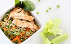 Pack a healthy, budget-friendly lunch using this recipe for a chicken and brown rice bowl. Grilled lean chicken is served alongside a portion of brown rice tossed with celery, onion, peas and carro. Pastas Recipes, Lunch Recipes, Diet Recipes, Chicken Recipes, Cooking Recipes, Cooking Rice, Cooking Pork, Cooking Games, Recipe Chicken