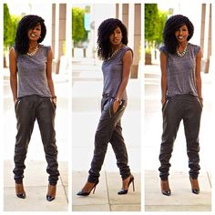 Burnout Tee + Leather Joggers I like the outfit and the hair in this pic. Black Women Fashion, Cute Fashion, Look Fashion, Autumn Fashion, Chic Outfits, Summer Outfits, Fashion Outfits, Jogging, Jogger Outfit