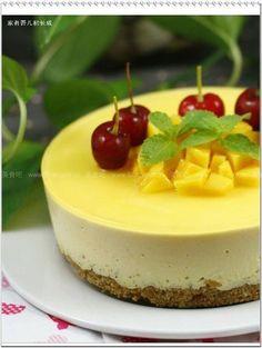 芒果冻奶酪慕斯蛋糕(低难度的甜点)