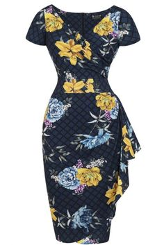 Our Elsie dress in Blocks & Bouquets is a burst of floral blossoms against a background of deep blue squares. Enjoy a plunging V-neckline and a wrap-around silhouette with a cascade of flares at the hip. 50s Style Clothing, Style Clothes, Tulip Skirt, Block Dress, Blue Square, Lady V, Plunging Neckline, Different Styles, Hemline