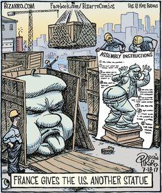 "Dan Piraro's ""Bizarro"" is an eccentric and bizarre look at everyday life through the cartoonist's eyes. Cartoon Jokes, Funny Cartoons, Cartoon Art, Funny Meme Pictures, Funny Memes, Hilarious, Gary Larson Comics, Hot Weather Humor, Bizarro Comic"
