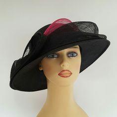 Ladies Wedding Hat Races Mother Bride Ascot Hat Black & Cerise Pink Swoops