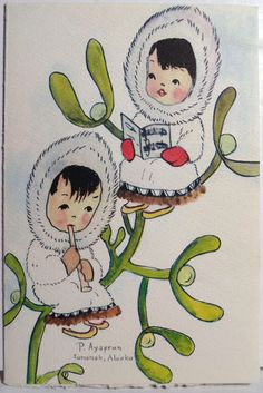 60s Pauline Ayaprun Alaskan Eskimo Inuit Artist Vintage Christmas Card Vintage Christmas Cards, Christmas Greetings, Merry Christmas, Christmas Artwork, Christmas Images, Illustration Art, Illustrations, Wonderful Time, Folk Art