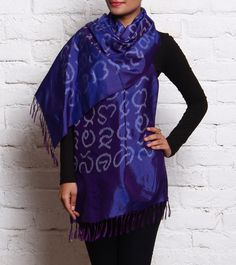 Royal Blue Calligraphy Block Printed Silk Stole #cottonblend #wraps #satin #printed