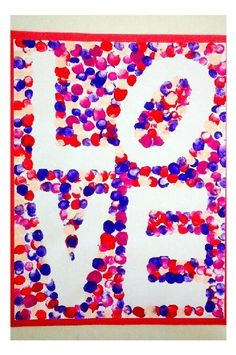 Robert Indiana inspired finger paint art I did with my Kindergarten class for Valentine& Day Valentines Day Activities, Valentines Day Party, Valentine Day Crafts, Craft Activities, Holiday Crafts, Valentines Art For Kids, Finger Paint Art, Finger Painting, Painting Art