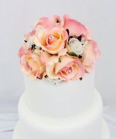 Wedding Cake Topper - Pink Rose Silk Flower Wedding Cake Topper by ItTopsTheCake, $47.00
