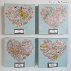 We Met, We Married, We Lived, We Love - Valentine's Day Map Art