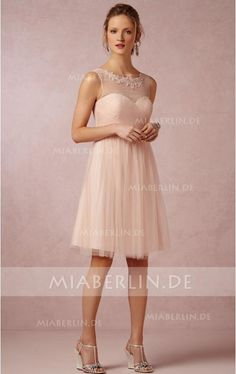 Chic & Moderneseseses Ärmelloses Hochgeschnittenes Tüll A-Linie Knielanges Brautjungfernkleid