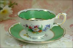 Vintage Green and White Garden Flowers by HappyGalsVintage on Etsy