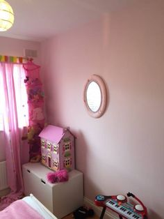 Children's bedroom painted in 'Pink Marshmallow' in Fleetwood Prestige Washable Matt - beautiful and durable. Fleetwood Paint, Kids Bedroom Paint, Pink Marshmallows, Beautiful Children, Storage Chest, Kids Room, Room Decor, Colours, Cabinet