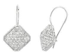 1,25 carati, con pavé di diamanti, quadrata, coppia di orecchini a cerchio, in oro 14 k