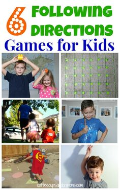 Teach Kids to Follow Directions with 6 FUN Move and Learn Games! Repinned by SOS Inc. Resources pinterest.com/sostherapy/.
