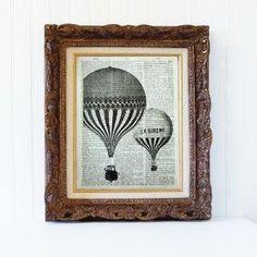 Impressão do globo do ar quente impressão do bookpage da arte do livro da cópia do livro da casa do vintage da página do livro em Etsy, $ 9.95 por jeannine