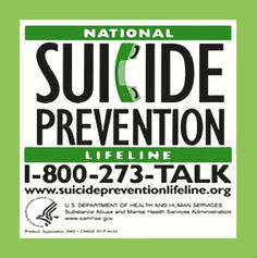 National Suicide Prevention Lifeline - http://www.suicidepreventionlifeline.org/  ( www.mysillylife.net )