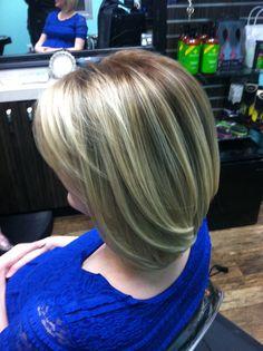 Full head of Balayage highlights and warmed up her base, cut and quick style @Sara Balos #HairBySaraBalos