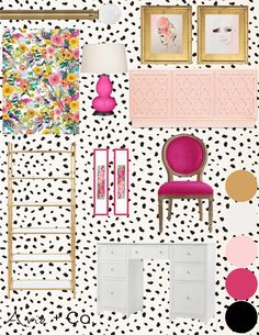 Kate Spade Inspired Office eDesign - Arie + Co. Cute Office Decor, Guest Room Office, Home Decor Inspiration, Kate Spade Bedroom Inspiration, Decor Ideas, E Design, Colorful Interiors, Concept Board, Chinese Architecture
