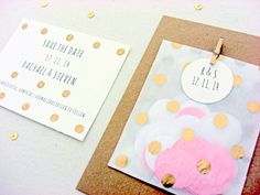 Wedding save the date cards with confetti bags, gold polka dots, hand gilded, 25, modern on Etsy, $216.81 AUD
