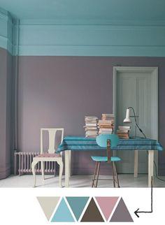 Déco salle de séjour en violet claire couleur parme
