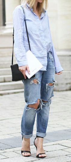 Blue shirt + ripped jeans