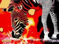 Zebra Art Abstract Realism Red Black Yellow Africa Safari Wildlife Digital Wild Animal Giclee Print 8 x 10 Wildlife Home Decor, Cat Shots, Zebra Art, African Animals, African Safari, Realism Art, Domestic Cat, Zebras, Exotic Pets