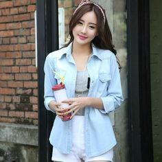 >> Click to Buy << Brand 2015 Fashion Casual Street Denim Shirt Solid Woman Shirts Long Sleeve Womens Shirts Turn Down Collar Women Shirt #Affiliate