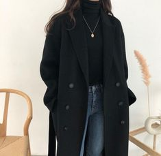 Trench Coat Outfit For Spring – Trench Coat Outfits – Trenchcoat Outfits for Spring – Trench Coat Outfits – Winter Fashion Outfits, Look Fashion, Fasion, Fall Outfits, Fashion Coat, Korean Spring Outfits, Womens Fashion, Fashion Spring, Fashion Black