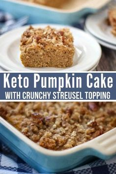 This scrumptious low carb Keto Pumpkin Cake is absolutely amazing with a crunchy pecan streusel topping. You'll love how easy it is to make even if you aren't an experienced baker. / keto re Homemade Pumpkin Puree, Pumpkin Cake Recipes, Pumpkin Dessert, Keto Cake, Keto Cheesecake, Gourmet Recipes, Low Carb Recipes, Dessert Recipes, Breakfast Recipes