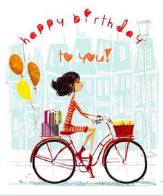 Vintage Bike Print Measures 9 x 6 Printed on Velvet Fine Art Paper. Shipped in a clear bag with a backing board to prevent Illustrations, Children's Book Illustration, Happy Birthday Cards, Birthday Wishes, Birthday Greetings, Happy Birthday Bicycle, 21 Birthday, Birthday Memes, Bicycle Art