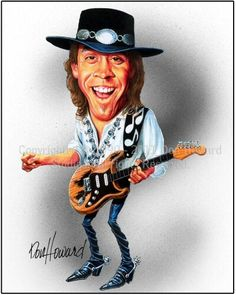 Don Howard's Depiction of Stevie Ray Vaughan Limited Edition Celebrity Caricature by DonHowardStudios on Etsy Steve Ray Vaughan, Jimmie Vaughan, Funny Caricatures, Celebrity Caricatures, Studios, Stevie Ray, Picture Logo, Blues Music, Rock Music