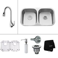 Kraus�Kitchen Combo 16-Gauge Double Basin Undermount Stainless Steel Kitchen Sink with Faucet. Another option which is all inclusive,  however, not sure I need the soap dispenser or which faucet I will end up with.