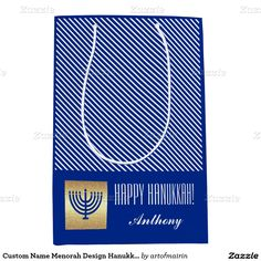 Happy Hanukkah | Happy Chanukah. Menorah Design Hanukkah Gift Bags. Matching cards, postage stamps and other products available in the Jewish Holidays / Hanukkah Category of the artofmairin store at zazzle.com