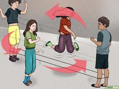 How to Chinese Jump Rope: 11 Steps (with Pictures) - wikiHow Jump Rope Songs, Jump Rope Games, Outdoor Games To Play, Outdoor Fun, Chinese Jump Rope, Pe Activities, Movement Activities, Kids Things To Do, Gym Games