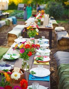 Cheerful Country Wedding Decor Ideas ★ country wedding woodland tables with bright cloth and flowers nate luke and blaine moats wedding clothes 36 Cheerful Country Wedding Decor Ideas Farm Wedding, Wedding Table, Wedding Reception, Wedding Ideas, Wedding Inspiration, Reception Ideas, Wedding Styles, Springfield Missouri, The Scout Guide