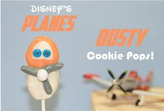 """Chocolate Covered Nutter Butter Plane's Inspired Dusty Cookie Pops!"" -- Instructions, more photos, and a very cute consumer at the click-through."