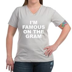 Women's dark color silver v-neck t-shirt with I'm Famous On The Gram (Instagram) theme. Instagram is one of the most used platforms that has catapulted careers, discovered new stars, fascinations and created successful businesses. Available in black, silver, navy blue, charcoal, Kelly green, coral, garnet; small, medium, large, x-large, 2x-large, 3x-large size for only $25.99. Go to the link to purchase the product and to see other options – http://www.cafepress.com/stifotg