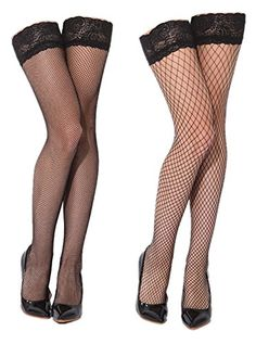 """BLACK Opaque THIGH HIGH Stockings CAMOFLAGE TOP Military ARMY Stretch to 20/"""" OS"""