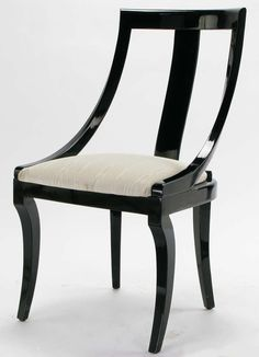 Six Italian Black Lacquer & Moire Dining Chairs | From a unique collection of antique and modern dining room chairs at http://www.1stdibs.com/furniture/seating/dining-room-chairs/