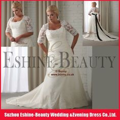 Hot sale long sleeve black and white plus size wedding gown