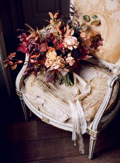 Taylor & Porter Fine Art Film Photography St. Giles House Autumn Floral Arrangement Dutch Masters Style antique chair