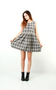 Vintage Plaid Simple Dress / Minimalist Dress / Tartan Dress /
