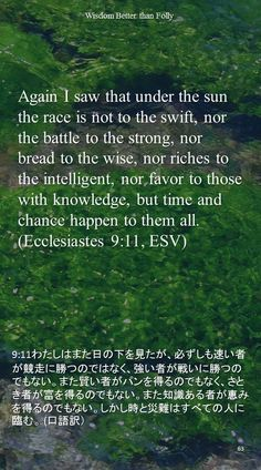 Again I saw that under the sun the race is not to the swift, nor the battle to the strong, nor bread to the wise, nor riches to the intelligent, nor favor to those with knowledge, but time and chance happen to them all.(Ecclesiastes 9:11, ESV)9:11わたしはまた日の下を見たが、必ずしも速い者が競走に勝つのではなく、強い者が戦いに勝つのでもない。また賢い者がパンを得るのでもなく、さとき者が富を得るのでもない。また知識ある者が恵みを得るのでもない。しかし時と災難はすべての人に臨む。 (口語訳)