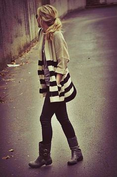 leggings, boots, stripped sweater - perfect for  rainy days and the office.