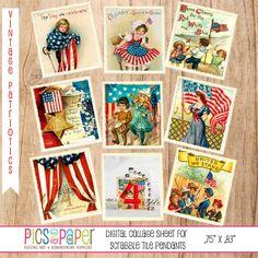 Scrabble Tile Size Vintage Postcards Patriotic 4th by PicsandPaper